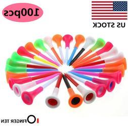 Plastic Golf Tees 100 Pcs Rubber Cushion Top Multi-colored P