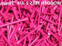 100 pcs Real Wooden Tees Pink New Golf Natural Long Length T