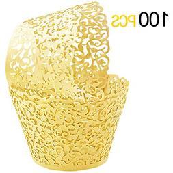 GOLF 100Pcs Cupcake Wrappers Artistic Bake Cake Paper Filigr