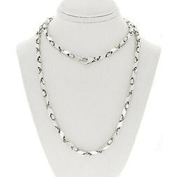 "14k White Gold Handmade Fashion Link Necklace 26"" 5mm 42.5 g"