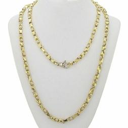 """14k Yellow & White Gold Handmade Fashion Link Necklace 25"""" 5"""