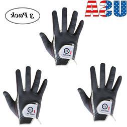 3 Pack Men's Golf Gloves Left Right Hand All Weather Grip Du