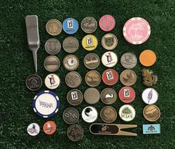 39-Golf Ball Markers And Golf Divot Repair Tools No Duplicat