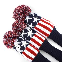 3pcs Knit Golf Driver Fairway Wood Head Covers for Taylormad