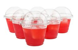 GOLDEN APPLE, 9oz. Clear Plastic Cups with no holes Dome lid