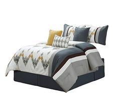 HGS 7-Pc Diamond Ornate Chevron Zigzag Embroidery Comforter