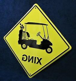 GOLF CART Xing - *US MADE* Embossed Metal Sign - Yard Man Ca