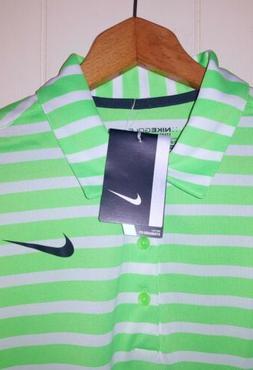 Nike Golf Flyknit Polo Shirt Men XL NWT Green & White Stripe