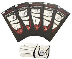 Golf Glove Leather 5 Pack Genuine Performance Cabretta S Lea
