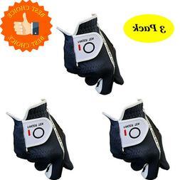 Golf Gloves Men Left Right Hand Value 3 Pack S M L ML XL Bla