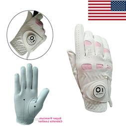 Golf Gloves Women Ladies Weathersof Cabretta Leather With Ba