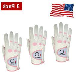 Golf Gloves Women's 3 Pack Rain Grip Ladies Left Right Hand