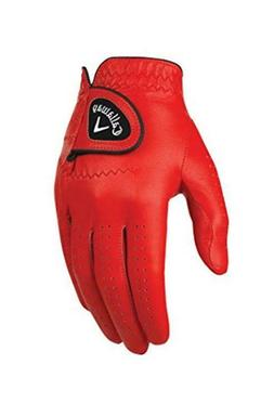 Callaway Golf Men's OptiColor Leather Glove, Red, Small, Wor