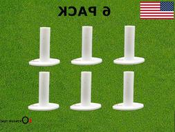 Golf Rubber Tees 6 Pack for Mat Long White 1.5 inch 2.25'' 2