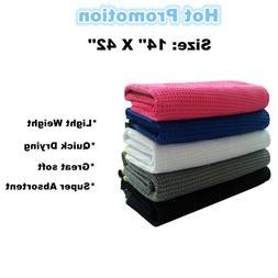 "Golf Towels Microfiber 14"" x 42"" Players Black White Blue Ti"