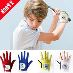 Kids Golf Gloves 2 Pack Left Right Hand Fit All Weather Yout