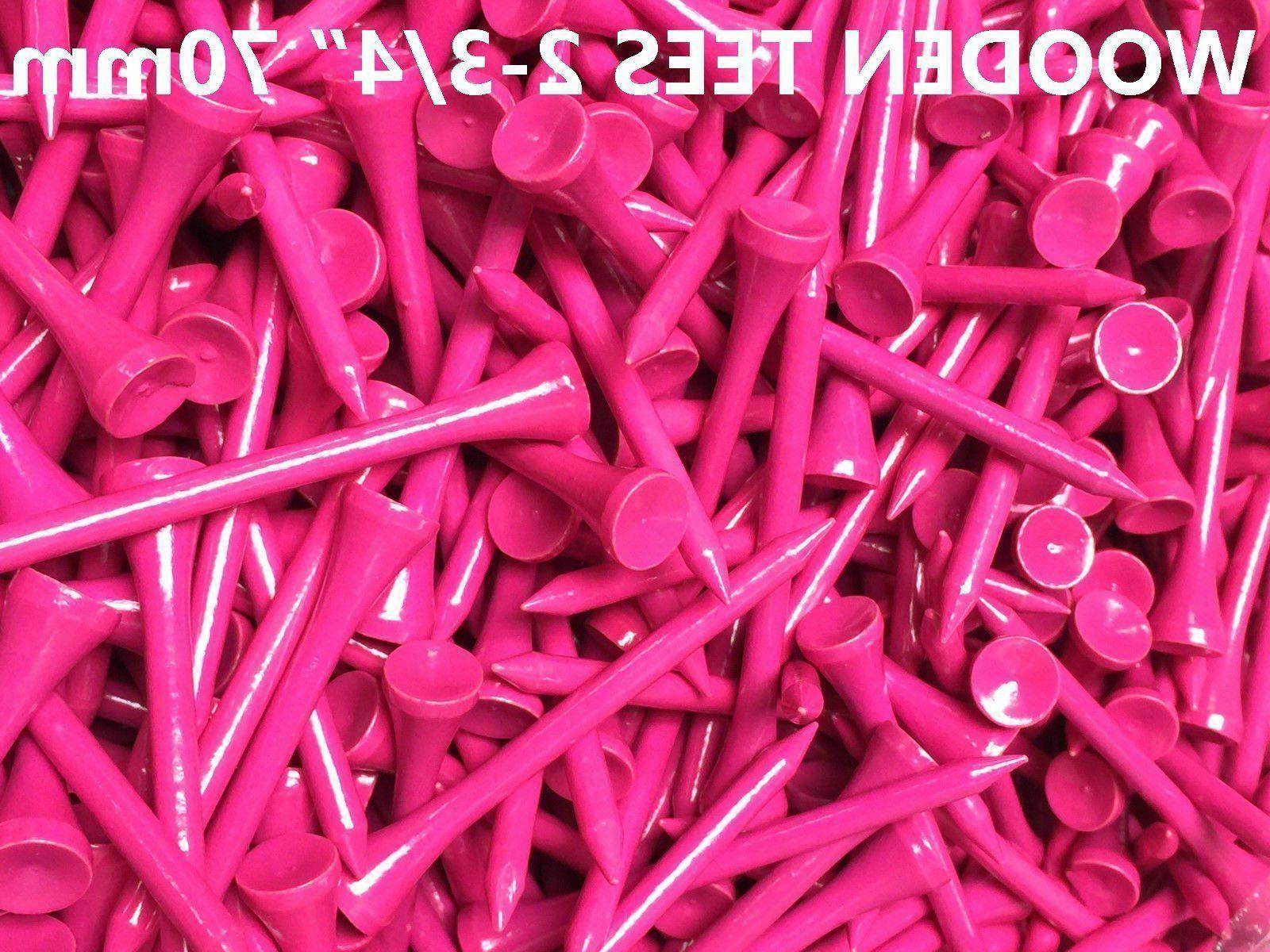 100 pcs real wooden tees pink new