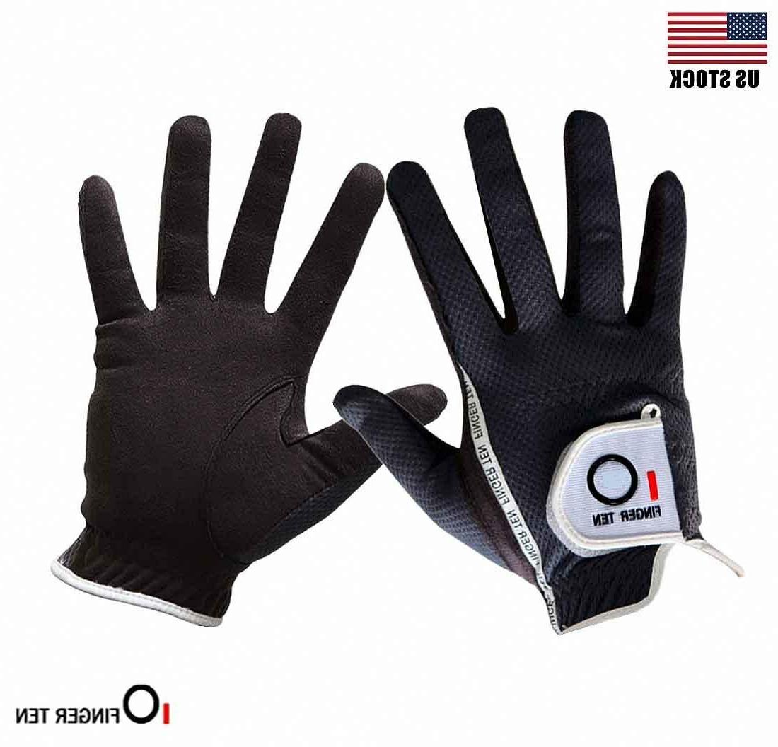 Men's Pack Golf Gloves Left Hand Lh Rain Wet Grip Black XL L