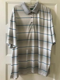 Ben Hogan Men's 3X Performance Golf Shirt Gray w Blue Stripe