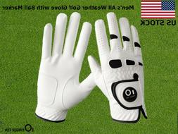 Men's Golf Gloves With Magnetic Ball Marker Left Hand Right