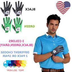 Mens Golf Gloves Pair or 2 Pack Both Hand Black Gray Left Ri