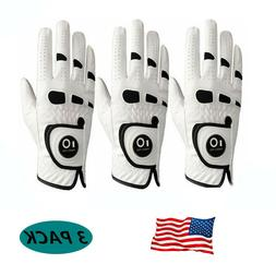 Mens Leather Golf Gloves Large 3 Pack White With Ball Marker