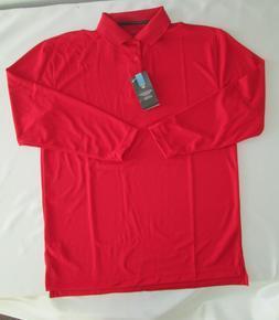 Mens shirt polo long sleeve red medium Large wicking Edwards