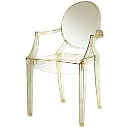 Modern Acrylic Dining Armchair Transparent Clear Design Gold