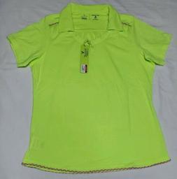 NEW Antigua Women's Clever Desert Dry Golf Polo Neon Yellow