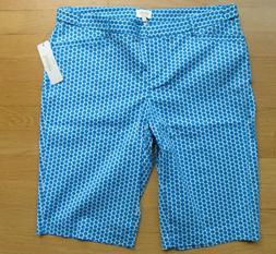 NWT LAUNDRY BY SHELLI SEGAL Diva Blue Bermuda Golf Shorts Wo