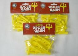 "Block Head Plastic Golf Tees 2 3/4"" - 3 Packs of 25 11373"