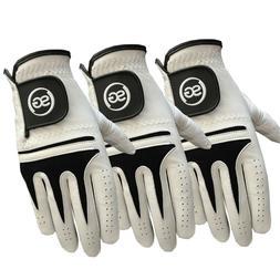 SG Men black n white Cabretta Leather golf gloves both left