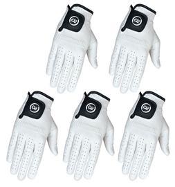 SG PACK OF 5 Men white Cabretta Leather Golf gloves Right &