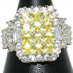 Shinning Yellow Citrine Ring Women Nickel Free Jewelry White