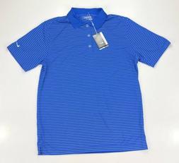 Nike Golf Tour Performance Dri Fit Blue Stripe Golf Polo Shi