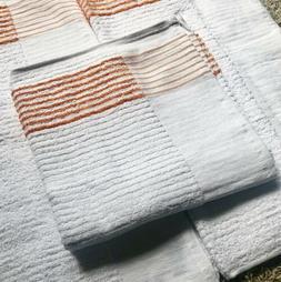 "White Golf Caddy Towel Gold/Yellow/Orange Stripe Large 22"""