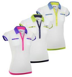 Adidas Womens FP Short Sleeve White Based Golf Pocket Polo P